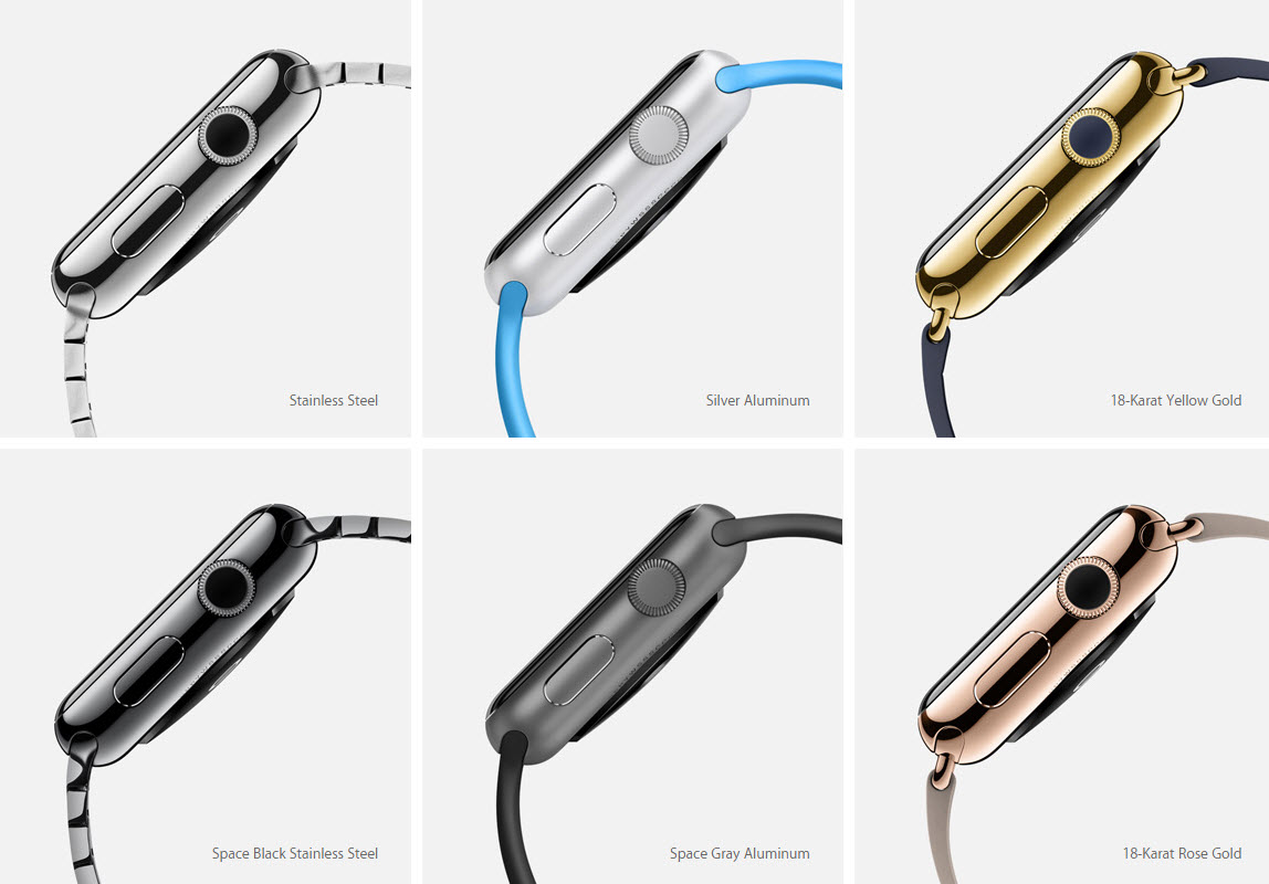 Different finishes of Apple Smartwatch